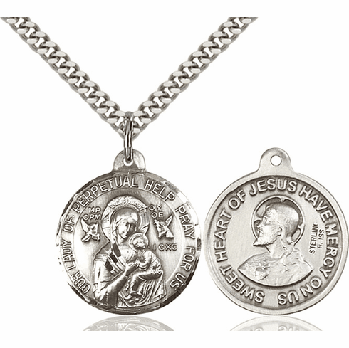 Bliss O/L of Perpetual Help and Sacred Heart Medal Necklace