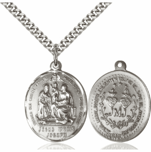 Bliss Mfg Oval Holy Family w/Twin Hearts and JMJ Sterling Silver Necklace