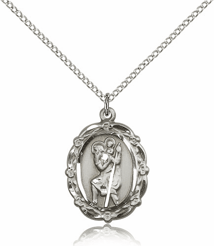 Bliss Mfg Patron Patron Saint Christopher Sterling Silver Medal Pendant Necklace