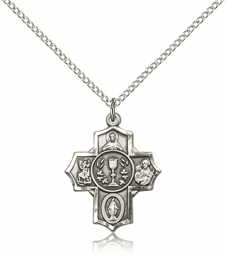 Bliss Mfg Pewter 5-Way Communion Cross Medal Pendant Necklace