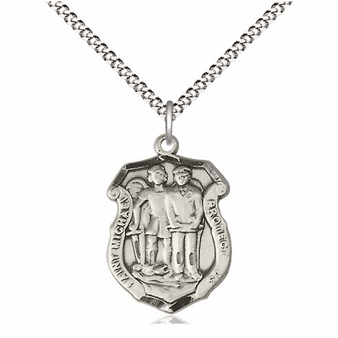 Bliss Mfg Pewter Medium St Michael the Archangel Police Shield Medal Pendant Necklace