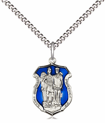 Bliss Mfg Pewter Small Blue Epoxy St Michael the Archangel Police Shield Medal Pendant Necklace