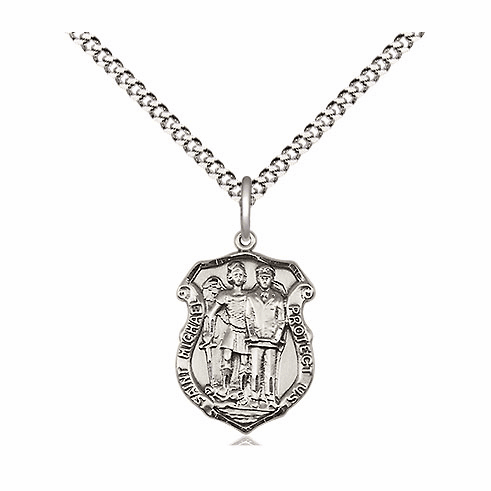 Bliss Mfg Pewter Small St Michael the Archangel Police Shield Medal Pendant Necklace
