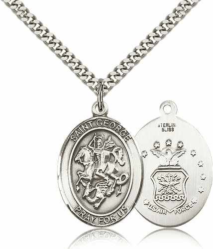 Pewter St George Air Force Saint Pendant Necklace