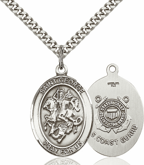 Pewter St George Coast Guard  Pendant Necklace