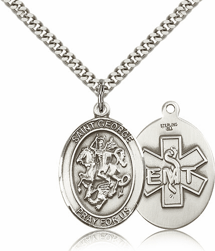 Pewter St George EMT Saint Medal Pendant Necklace