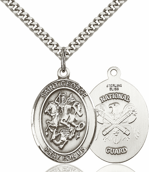 Bliss Mfg Pewter St George National Guard  Pendant Necklace