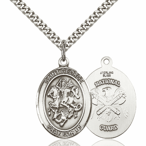 Pewter St George National Guard  Pendant Necklace