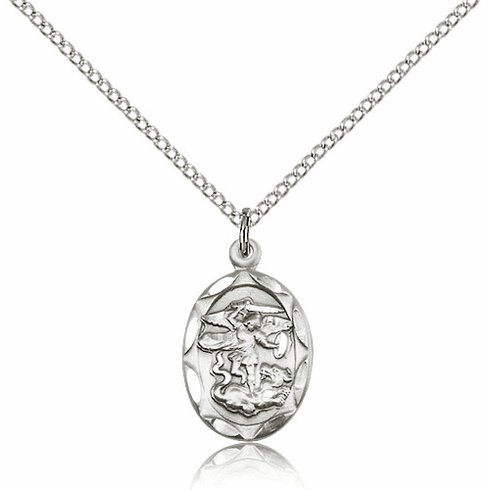 Bliss Mfg Pewter St Michael Medal Pendant Necklace