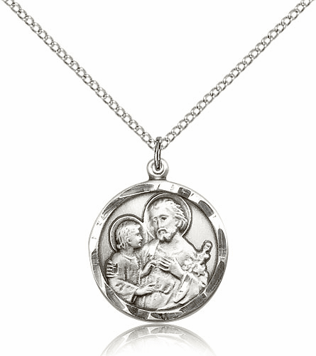 Bliss Mfg Round St Joseph Sterling Silver Medal Pendant Necklace