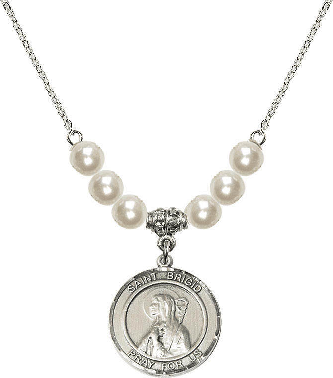 Bliss Mfg Round Sterling Silver St Brigid of Ireland Round Sterling Charm with Faux Pearls Necklace