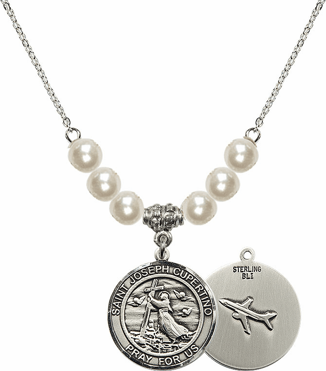 Bliss Mfg Round St Joseph of Cupertino Airplane Round Sterling Charm with Faux Pearls Necklace