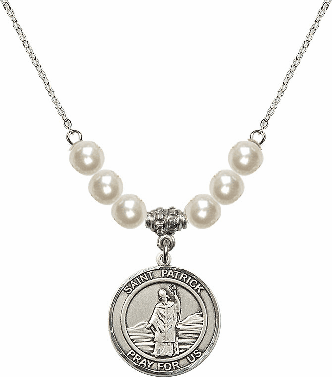 Bliss Mfg Round Sterling Silver St Patrick Round Sterling Charm with Faux Pearls Necklace