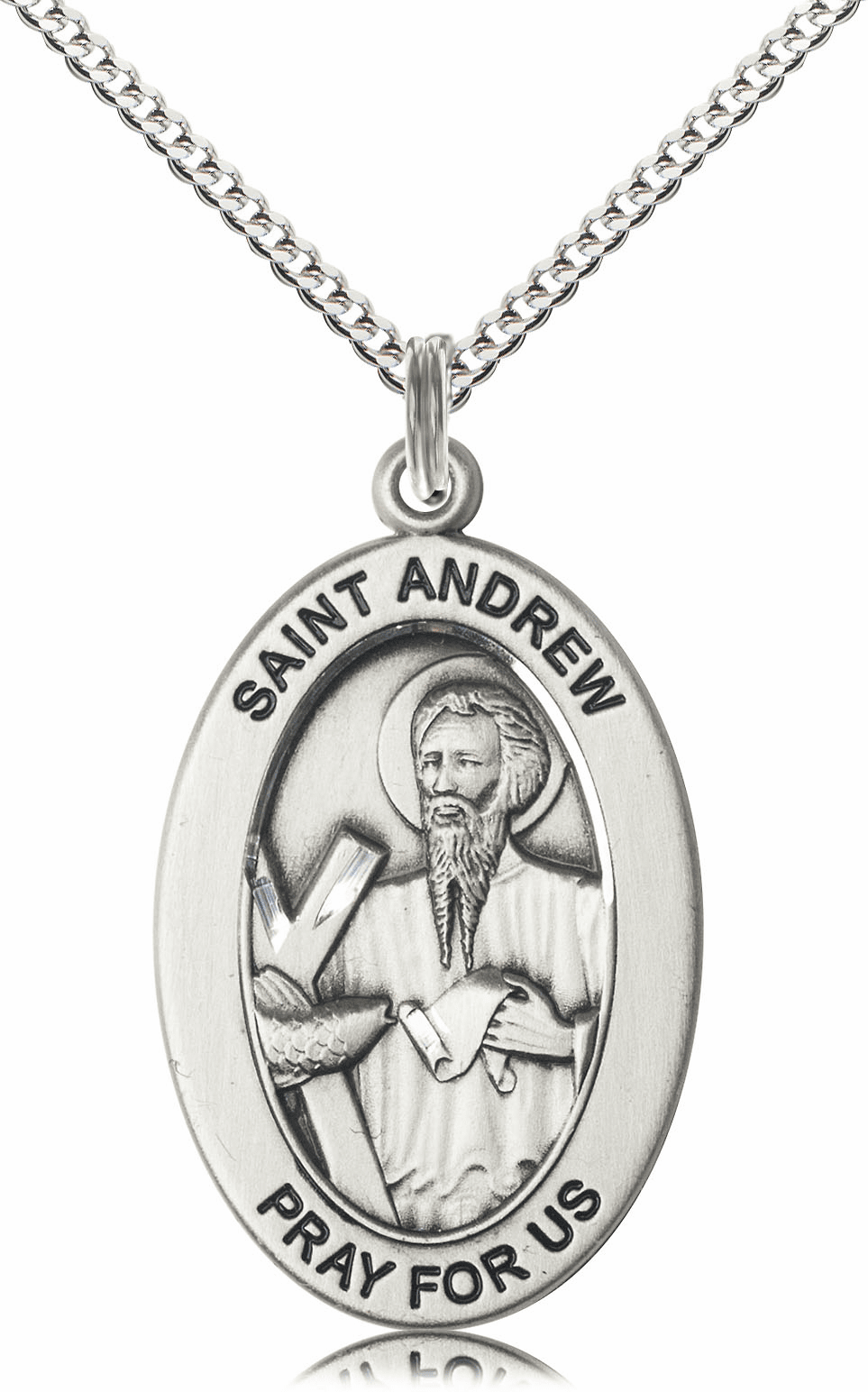 Bliss Mfg Saint Andrew the Apostle Sterling Silver Medal Necklace w/Chain