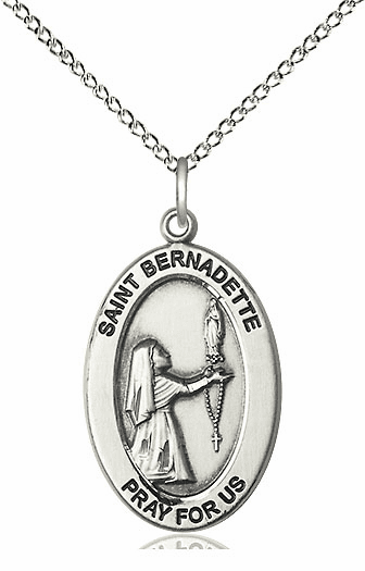 Bliss Mfg Saint Bernadette Sterling Silver Medal Necklace w/Chain