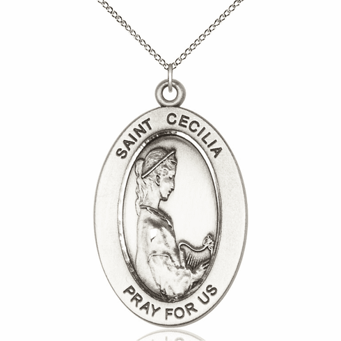 Bliss Mfg Saint Cecilia Sterling Silver Medal Necklace w/Chain