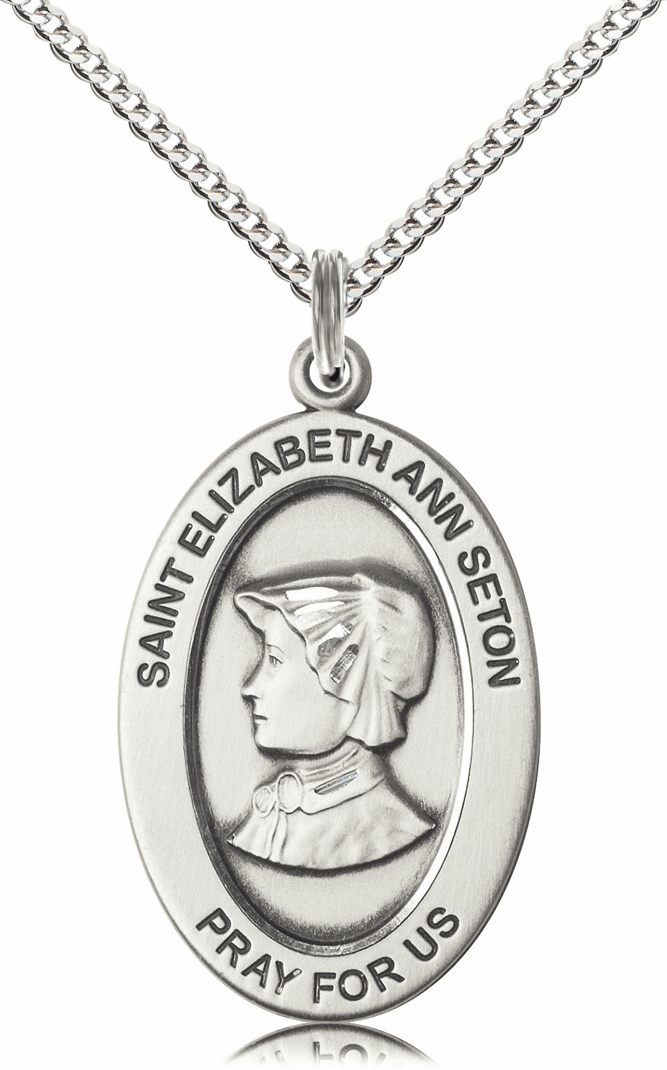 Bliss Mfg Saint Elizabeth Ann Seton Sterling Silver Medal Necklace w/Chain