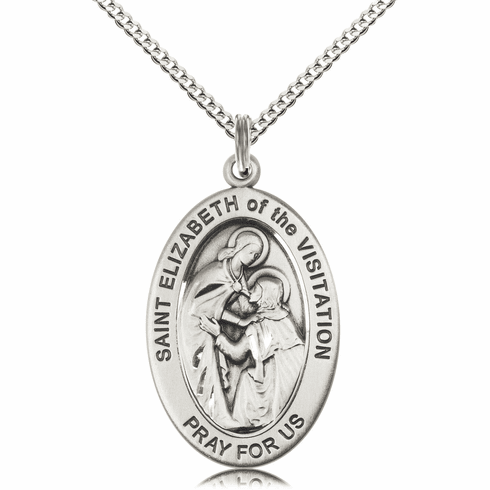 Bliss Mfg Saint Elizabeth of the Visitation Sterling Silver Medal Necklace w/Chain