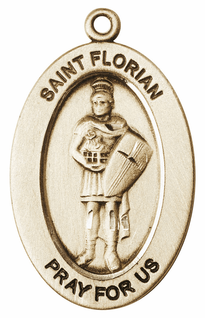 Bliss Mfg Saint Florian 14kt Gold Medal Pendant