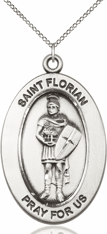 Bliss Mfg Saint Florian Sterling Silver Medal Necklace w/Chain