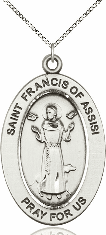 Bliss Mfg Saint Francis of Assisi Sterling Silver Medal Necklace w/Chain