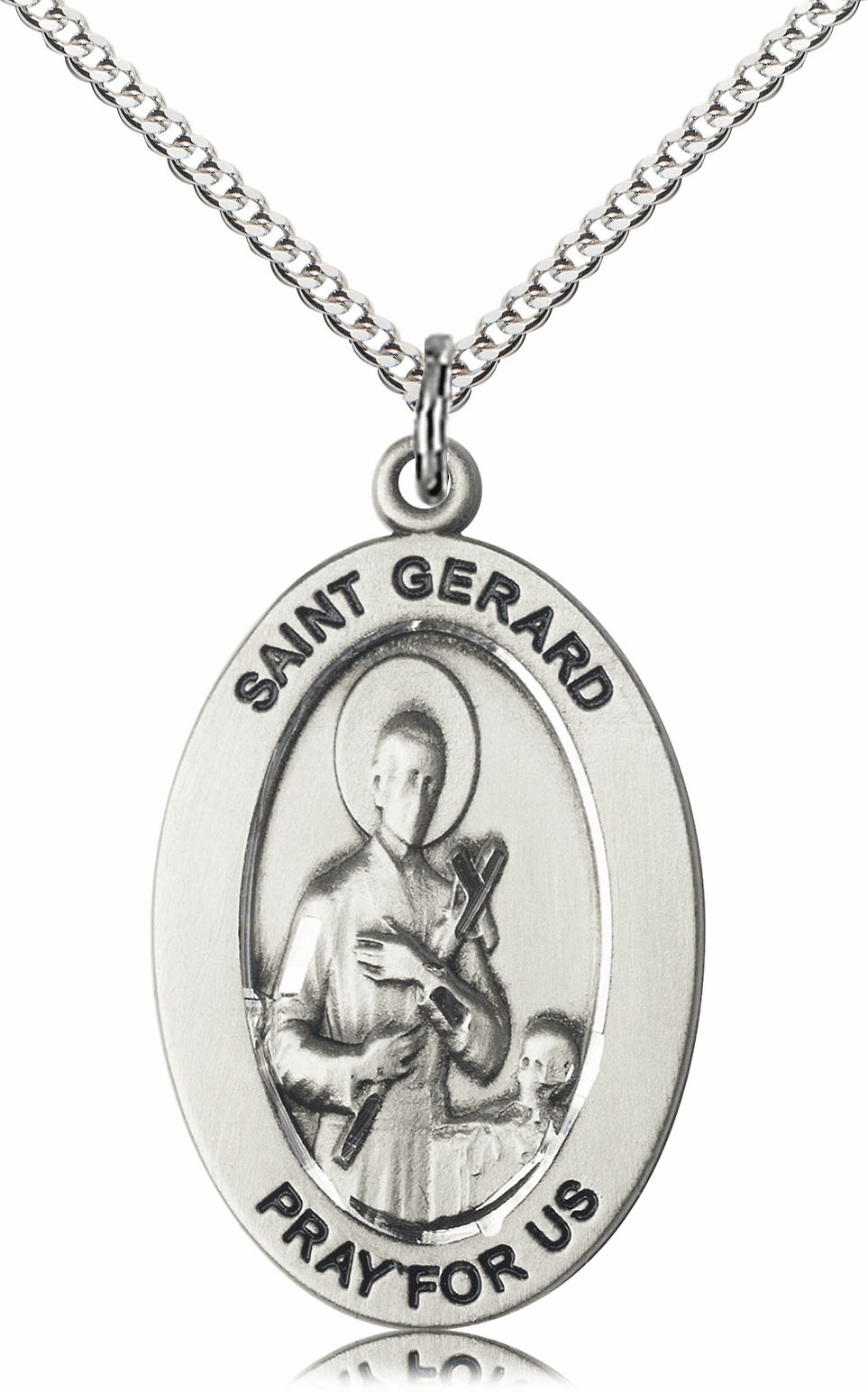 Bliss Mfg Saint Gerard Majella Sterling Silver Medal Necklace w/Chain
