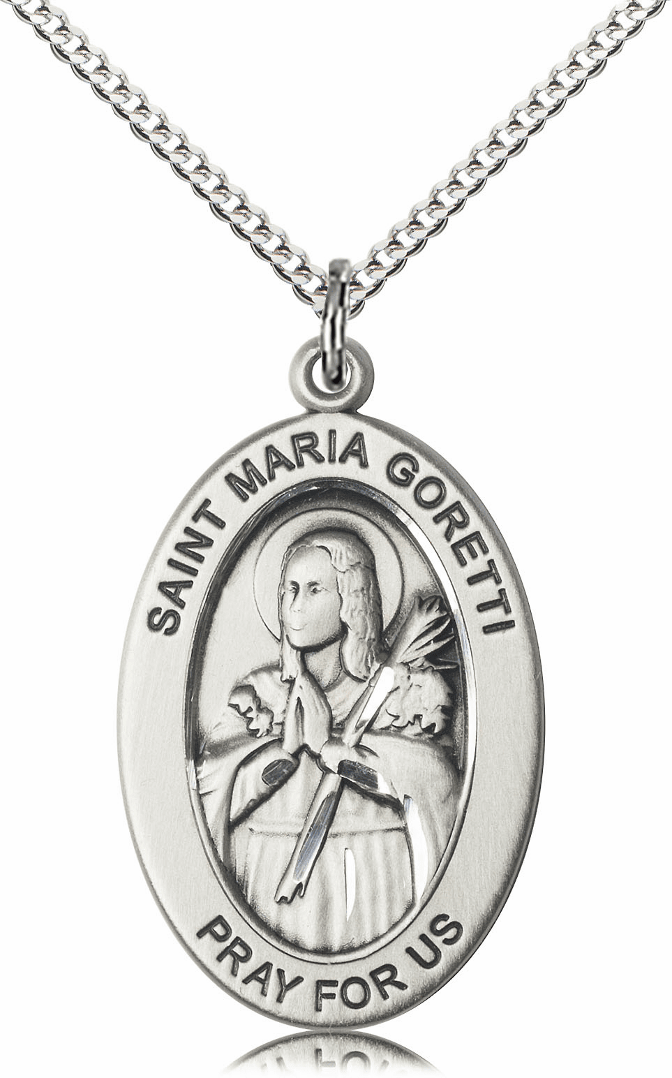 Bliss Mfg Saint Maria Goretti Sterling Silver Medal Necklace w/Chain