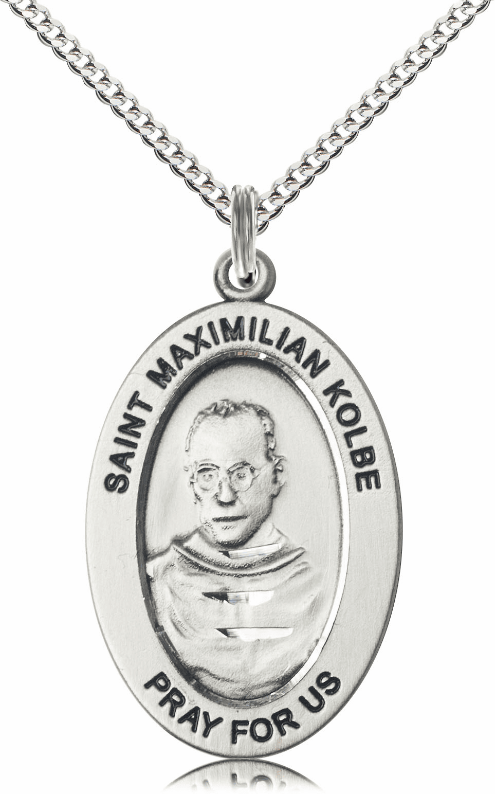 Bliss Mfg Saint Maximilian Kolbe Sterling Silver Medal Necklace w/Chain