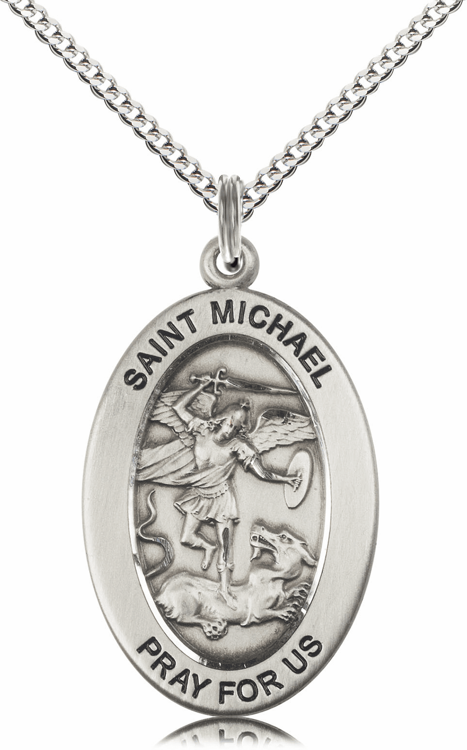 Bliss Mfg Saint Michael the Archangel Sterling Silver Medal Necklace w/Chain