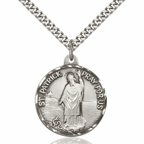 Bliss Mfg Saint Patrick Sterling Medal Necklace
