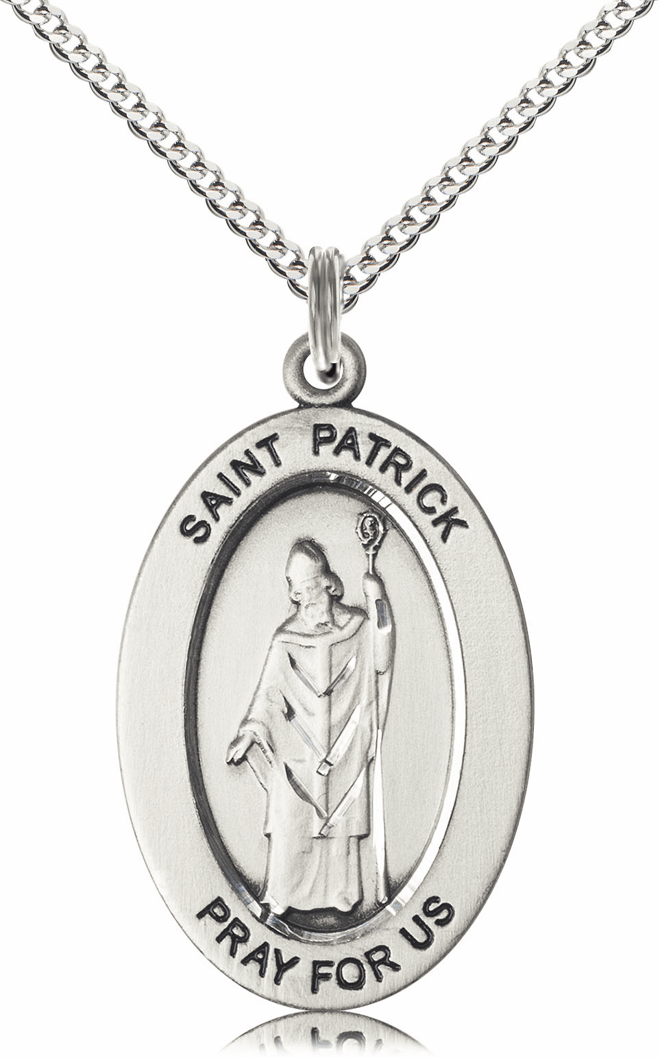 Bliss Mfg Saint Patrick Sterling Silver Medal Necklace w/Chain