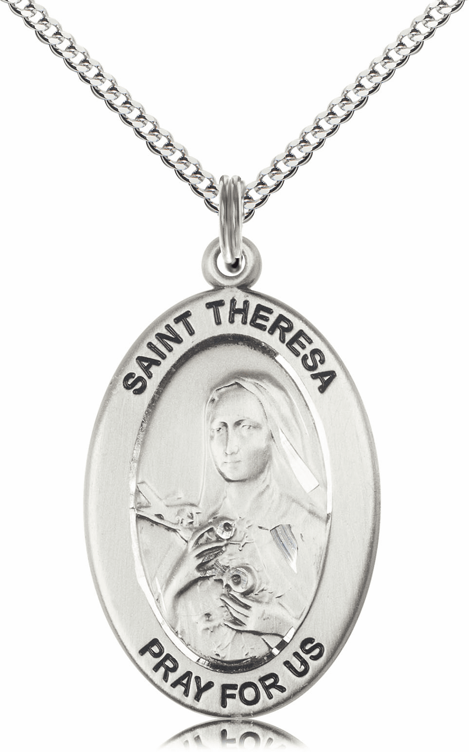 Bliss Mfg Saint Theresa Sterling Silver Medal Necklace w/Chain