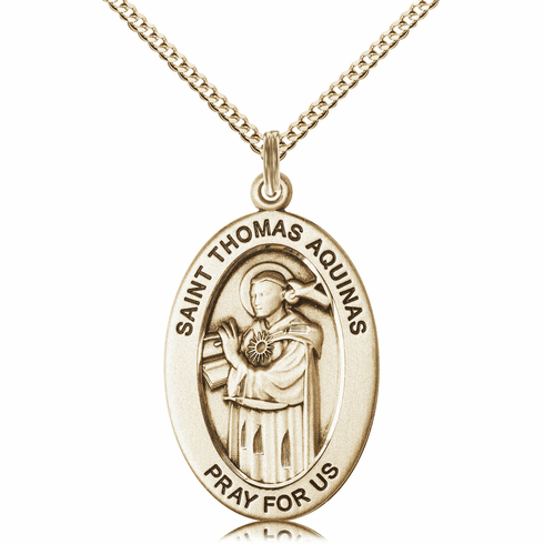 Bliss Mfg Saint Thomas Aquinas 14kt Gold-filled Medal Necklace w/Chain