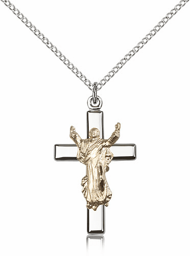Bliss Mfg Silver and Gold Risen Jesus Christ Cross Pendant Necklace