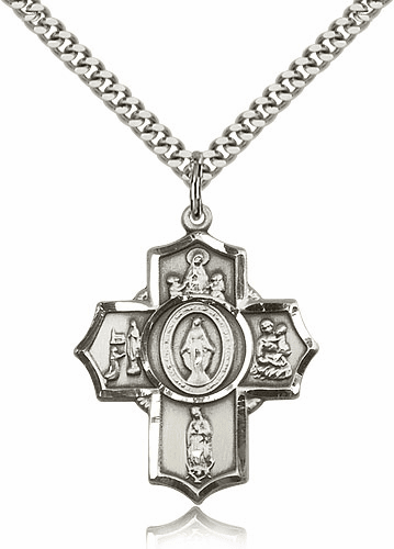 Bliss Mfg Silver-filled Apparitions Five-Way Cross Medal Necklace