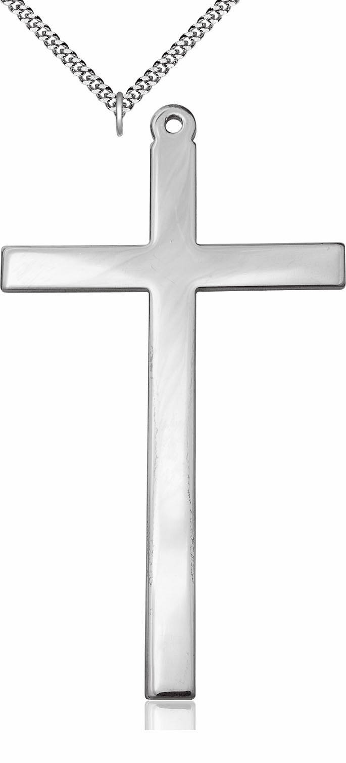 Bliss Mfg Silver-filled Christian Church Cross Medal Pendant Necklace