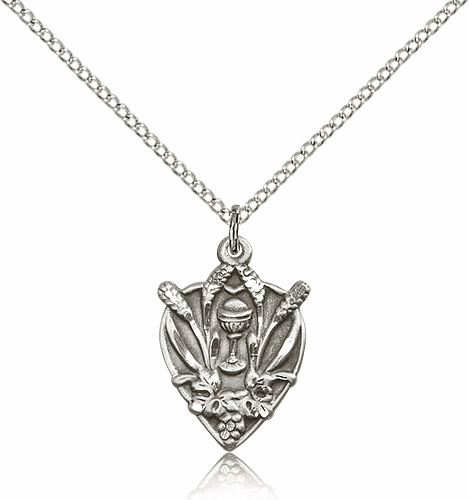 Bliss Mfg Silver-filled Heart Holy Communion Medal Pendant Necklace