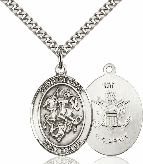 Bliss Mfg Silver-filled St George Army Pendant Necklace