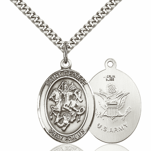 Silver-filled St George Army Pendant Necklace