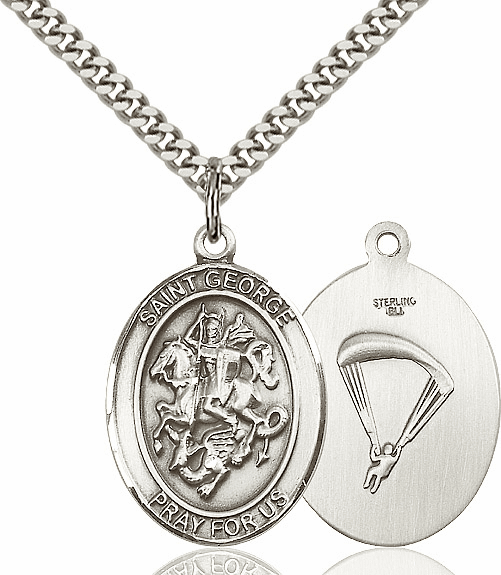 Bliss Mfg Silver-filled St George Paratrooper Saint Medal Necklace