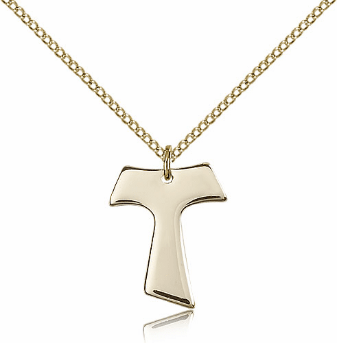 Bliss Mfg Small Franciscan Tau Cross Gold-filled Pendant w/Chain