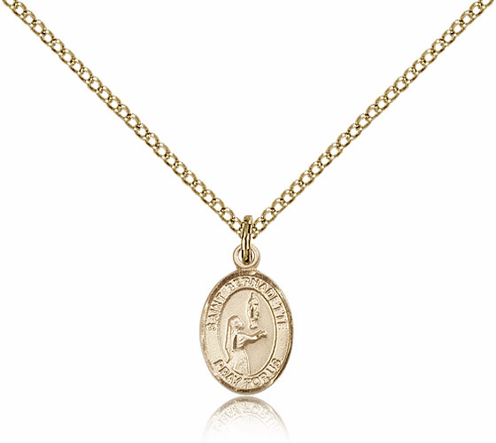 Bliss Mfg Small Gold Filled St. Bernadette Patron Saint Medal