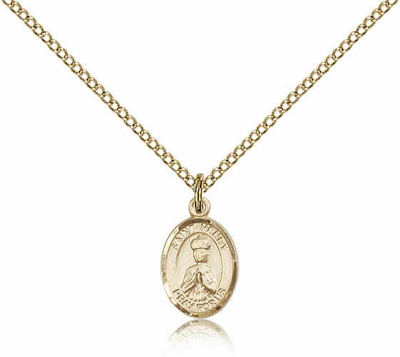 Bliss Mfg Small Gold Filled Saint Henry II Pendant Necklace