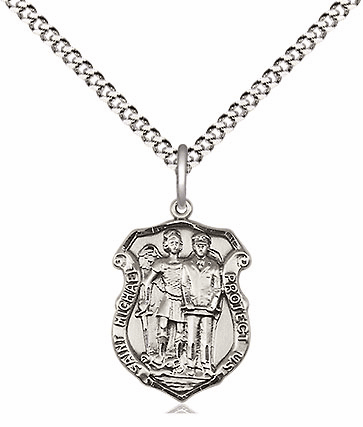 Bliss Mfg Small St Michael the Archangel Police Shield Sterling Silver Medal Pendant Necklace