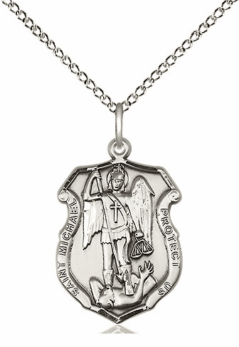 Bliss Mfg Small St Michael Shield Sterling Silver Medal Pendant Necklace