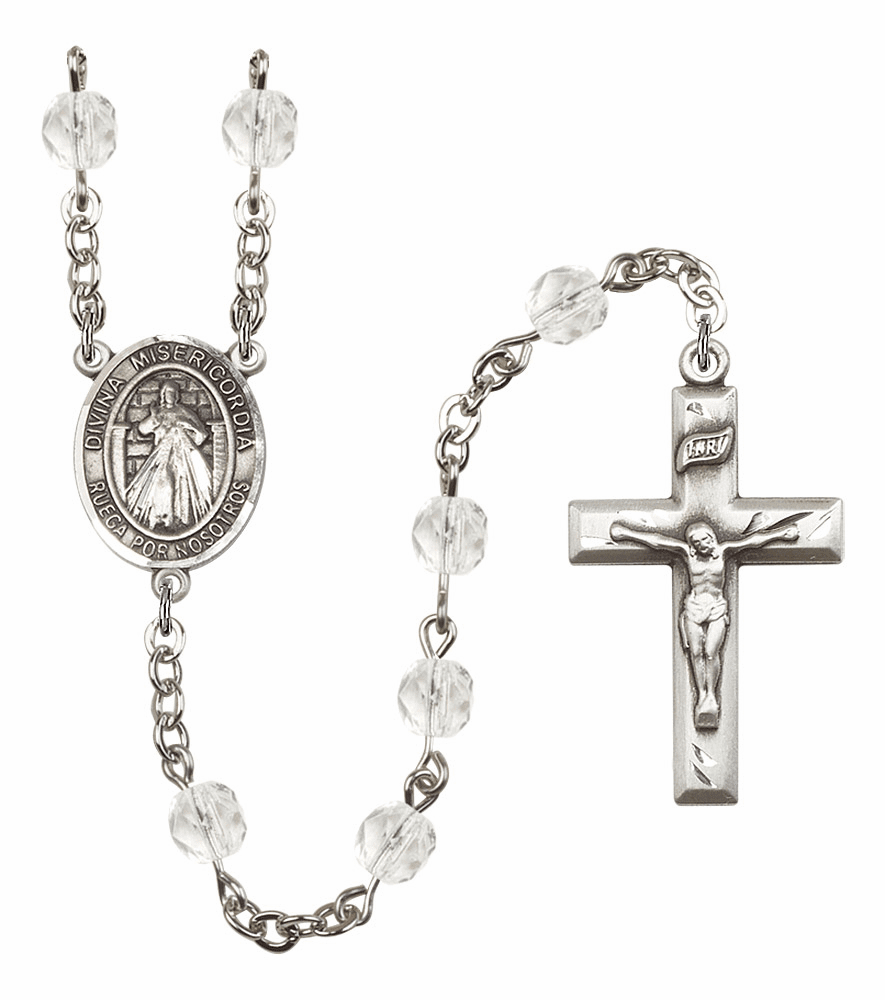 Bliss Mfg Spanish Misericordia/Jesus Divine Mercy April - Crystal Birthstone Rosary