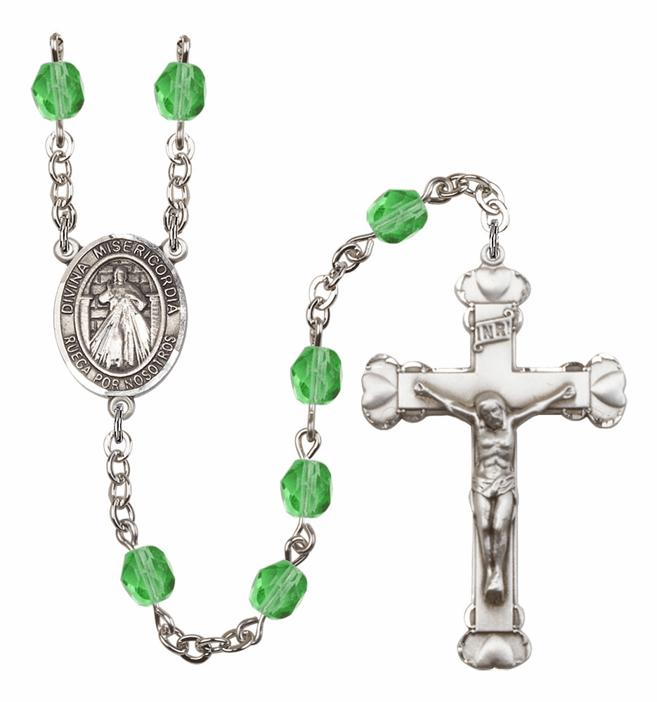 Bliss Mfg Spanish Misericordia/Jesus Divine Mercy August Peridot Birthstone Heart Rosary