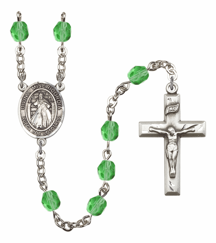Bliss Mfg Spanish Misericordia/Jesus Divine Mercy August Peridot Birthstone Rosary