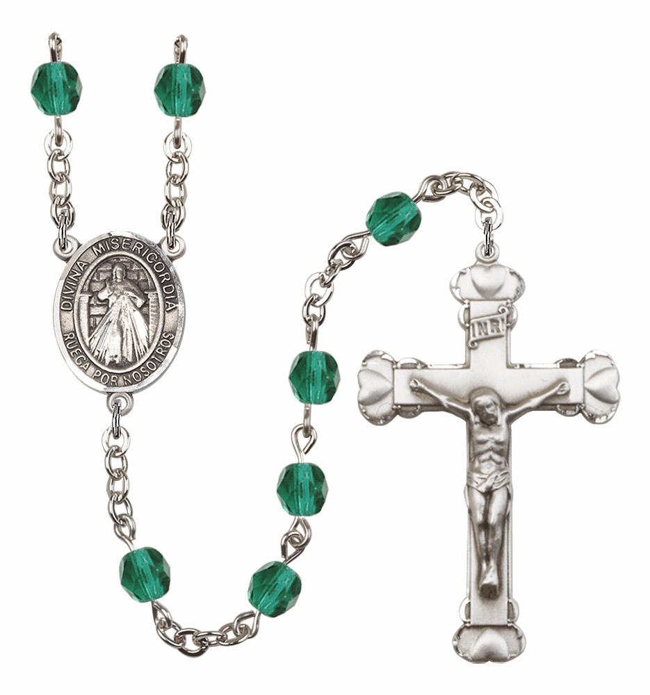Bliss Mfg Spanish Misericordia/Jesus Divine Mercy December Zircon Birthstone Heart Rosary