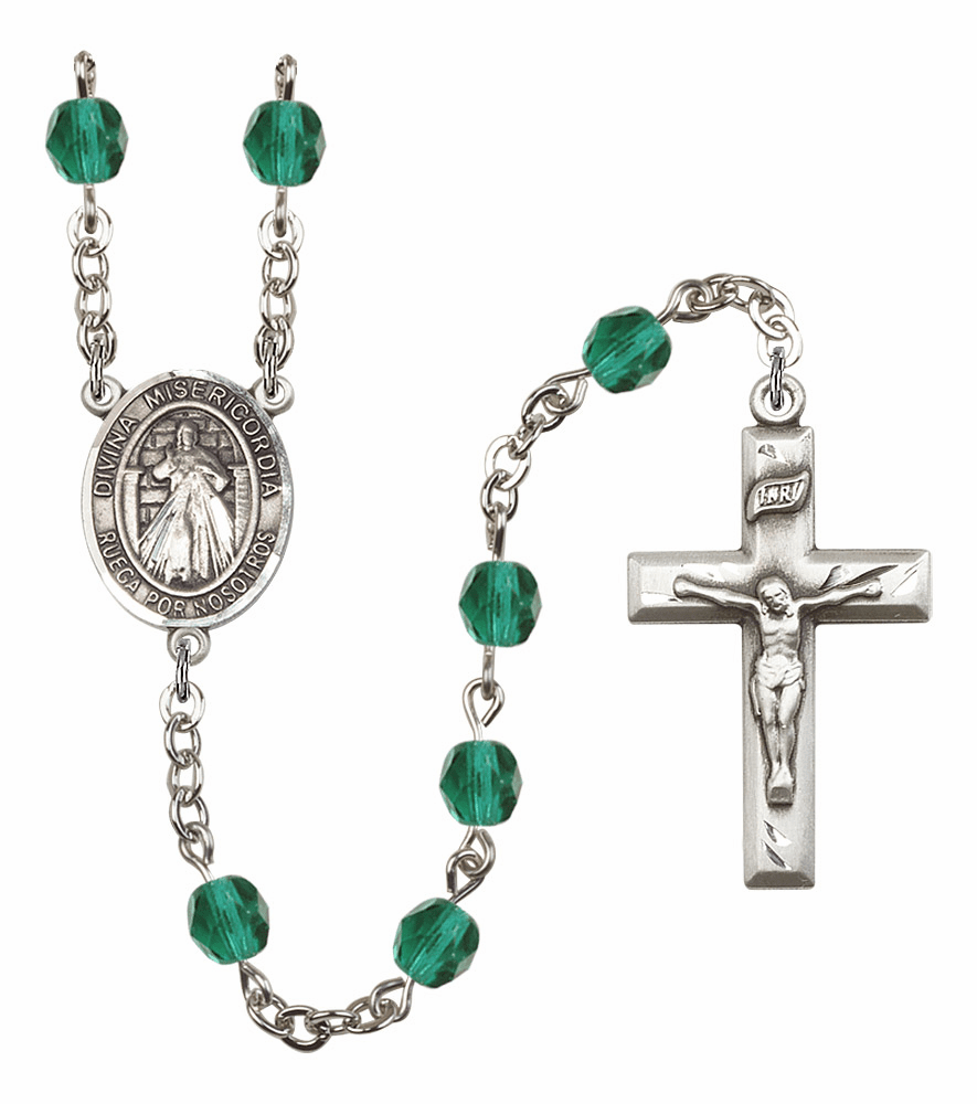 Bliss Mfg Spanish Misericordia/Jesus Divine Mercy December Zircon Birthstone Rosary